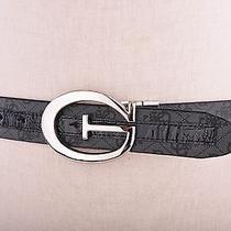 Guess Women's Synthetic Leather Belt Logo Reversible Croc Patent Black Buckle L Photo