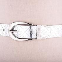 Guess Women's Synthetic Leather Belt Silver Logo Embossed D Buckle S Photo