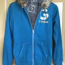 Guess Womens Teal/grey Hoodie Jacket With Faux Fur Photo