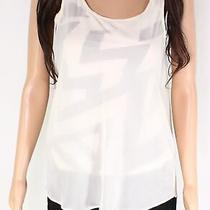 Guess Women's Top Beige Size Small S Overlay Scoop Neck Sequin Print 59 383 Photo