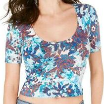 Guess Women's Top Blue Size Xl Crop Floral Printed Scoop-Neck Carolina 39 684 Photo