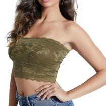 Guess Women's Top Classic Green Size Medium M Crop Strapless Lace 44 346 Photo