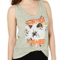 Guess Women's Top Muted Green Medium M Distressed Graphic Print Tank 44 357 Photo