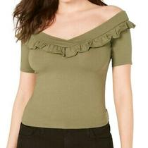 Guess Women's Top Olive Green Size Xs Knit Off Shoulder Ruffle v-Neck 44 257 Photo