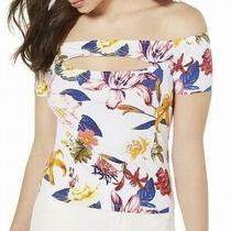 Guess Women's Top White Multi Size Xl Floral Off Shoulder Cutout 39 404 Photo