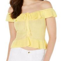 Guess Women's Top Yellow Size Medium M Liesa Off-the-Shoulder Flounce 59 455 Photo