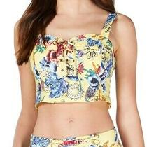Guess Women's Top Yellow Size Medium M Printed Lace-Up Crop Smocked 59 320 Photo