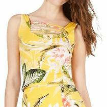 Guess Women's Top Yellow Size Xs Floral Print Caged Front Tank Crop 44 361 Photo
