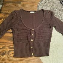 Guess Womens v-Neck Knit Sweater  Mesh Size Small Brown 3/4 Sleeve Photo