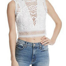 Guess Womens Xl Tiffany Lace Cropped Top in True White Color Deep v Back Photo