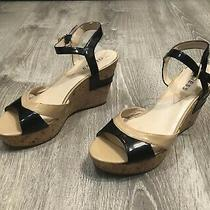 Guess Women Sandals Wedge Two Tone Black Tan Platform Cork Shoe Espadrilles Heel Photo