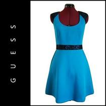 Guess Women Sleeveless Career Formal Fit & Flare Dress Size 6 Blue Photo