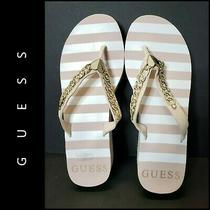 Guess Women Stripe Wedge Platform Size 9 M Gold / Beige Photo
