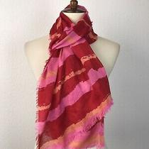 Guess Women Sz Os Rectangular Scarf Fringe Trim Color Block Pink Red Flaws Photo
