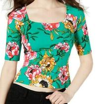 Guess Women Top True Green Size Xl Knit Square Neck Floral Elbow Sleeve 39 059 Photo
