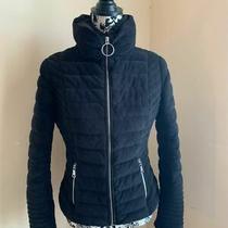 Guess Women Velvet Puffer Jacket Jet Black Size S  Photo