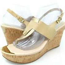 Guess Womens 10 M Wedge Slingback Heels Gwmagl12 Buckle Tan Sandals  Photo