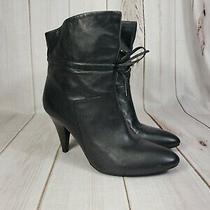 Guess Womens 9 Leather Bootie Pointy Toe Ankle Black Heel Bowtie Gwryley Ankle Photo