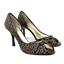 Guess Womens 9 M 9m Brown Signature Fabric Peep Toe Bow Stiletto Heels Shoes Photo