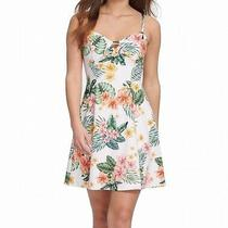 Guess Womens a-Line Dress White Multi Size 8 Floral Fit N Flare 118- 009 Photo