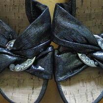 Guess Womens Balasi 2 Metallic Black Slip-on Open-Toe Wedge Sandal Size 6 Photo