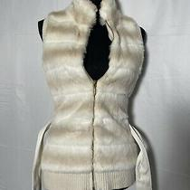 Guess Womens Beige Fur Stretch Knit Vest Jacket Size Xs 0 2 Dressy Winter Fall Photo