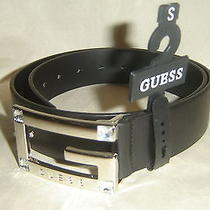 Guess Womens Belt Guess Logo Buckle W/guess Name Size Small Black New With Tag Photo