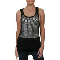 Guess Womens Black Crochet Racerback U-Neck Pullover Sweater Top M Bhfo 6822 Photo