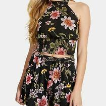Guess Womens Black Floral Sleeveless Halter Top Size M Photo