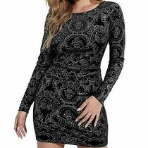 Guess Womens Black Printed Long Sleeve Short Body Con Cocktail Dress Size S Photo