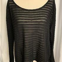 Guess Womens Black Stripe Sheer Long Sleeve High Low Tunic Top M Photo