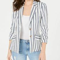 Guess Womens Blazer Cream White Size Large L Lizel Striped Two-Button 108 391 Photo