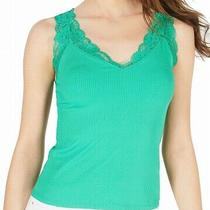 Guess Womens Blouse Classic Green Size Medium M Ribbed Tank Lace Trim 39 042 Photo