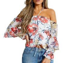Guess Womens Blouse White Size Xs Halter Off Shoulder Ruched-Front 79 327 Photo