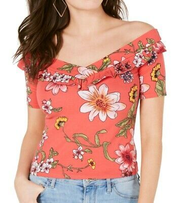 Guess Womens Blouses Red Size XS Off-Shoulder Ruffled Floral Print $39 854 Photo