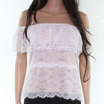 Guess Womens Blouses White Size Xl Off-Shoulder Floral-Lace Illusion 69- 524 Photo