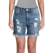 Guess Womens Blue Distressed Frayed Hem High Rise Denim Shorts 27 Bhfo 6010 Photo