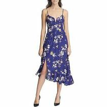 Guess Womens Blue Floral Spaghetti Strap Midi Party Dress Size 8 Photo