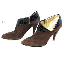 Guess Womens Bootie Heels Size 6 Medium Wgtaya Brown Suede Patent Leather Cuff  Photo