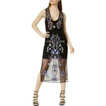 Guess Womens Cassia Black Embellished Sheer Party Midi Dress Xs Bhfo 3305 Photo