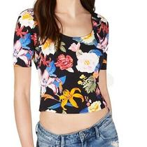 Guess Womens Cayla Crop Top Black Size Xs Floral Caged-Back Scoop-Neck 39 669 Photo