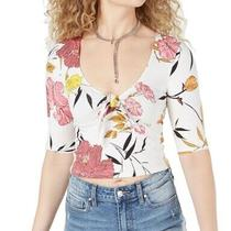 Guess Womens Celina Crop Top White Pink Yellow Large L Floral Tie-Front 44 517 Photo