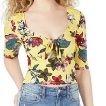 Guess Womens Celina Crop Top Yellow Large L Floral Tie-Front Half-Sleeve 44 661 Photo