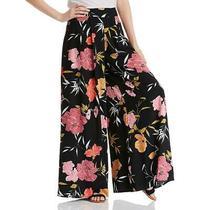 Guess Womens Charissa Palazzo Pants Black Pink Size 2 Hibiscus Wide Leg 89 615 Photo