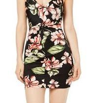 Guess Womens Corrine Dress Black Size Xs Sheath Floral Ruched Mini 89 189 Photo
