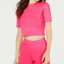 Guess Womens Crop Knit Top Neon Pink Delight Size Xl Crewneck Solid 39- 245 Photo