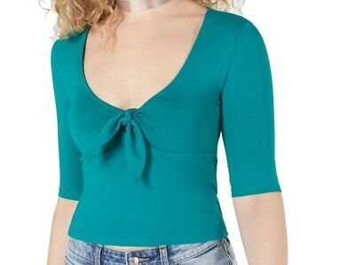 Guess Womens Crop Top Green Size Small S Half-Sleeve Tie-Front Celina $44 594 Photo