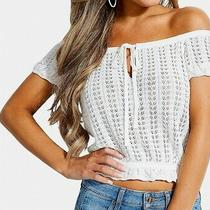 Guess Womens Crop Top Ivory White Size Xl Knitted Off Shoulder Tie-Neck 59 261 Photo
