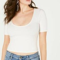 Guess Womens Crop Top Ivory White Size Xs Scoop-Neck Elbow-Sleeve 39- 087 Photo