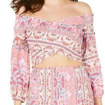 Guess Womens Crop Top Pink Xl Smocked Mixed Floral Print Off Shoulder 69- 490 Photo